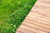 New wooden boardwalk over lawn in park - 232439061