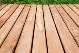 Perspective view of wooden boardwalk - 232439063