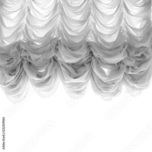 Soft tulle curtain isolated on white