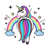 Vector illustration of fantasy animal horse unicorn. Flat style design