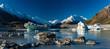 Tasman Glacier Lake with icebergs and mountains, Aoraki Mount Cook National Park, New Zealand
