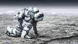 Astronaut starting to run. Mixed media - 232452446