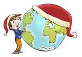 niño con planeta tierra y gorro de navidad - 232454667