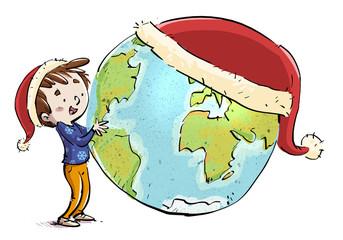 niño con planeta tierra y gorro de navidad