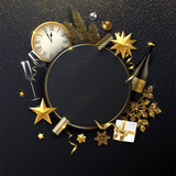 Christmas and New Year round poster with Christmas decorations, gift, Champagne and clock.