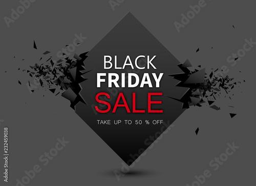 Czarny piątek sprzedaż szary tło. Do 50 procent zniżki.
