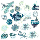 Collection of eco green labels with ink spots - 232460810