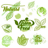 Collection of eco green labels with ink spots - 232461077