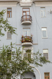 Beautiful balcony-flower garden in a residential high-rise building. - 232461413