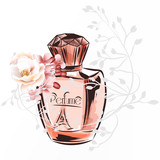 Fashion illustration with perfume bottle and roses - 232461687
