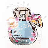 Fashion illustration with perfume bottle and rose flower - 232462016