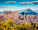 Great spring view of Parthenon, former temple, on the Athenian Acropolis, Greece, Europe. Colorful morning scene in Athens. Treveling concept background. Artistic style post processed photo. - 232462687