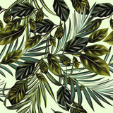 Fashion vector tropical palm leaves and citrus pattern - 232463416