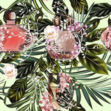 Fashion vector tropical palm leaves and perfume pattern - 232464005