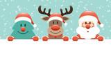 Tree, Rudolph & Santa Banner Snow - 232464050
