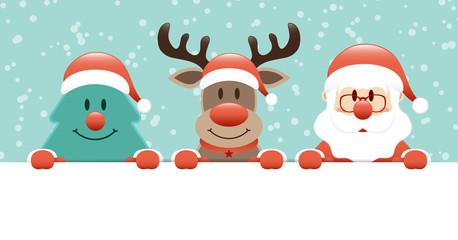 Tree, Rudolph & Santa Banner Snow