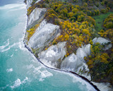 Aerial view of white chalk cliff in autumn colors