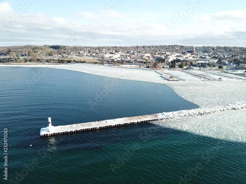 Foto Murales Aerial drone northern michigan petoskey little traverse bay