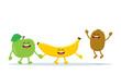 Funny fruits characters. Apple, banana and kiwi - 232473210