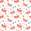 Seamless pattern on new year theme with bows and confitti - 232480069
