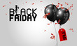Black friday banner design of balloons with red tag and ribbon vector illustration