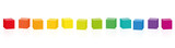 Colorful cubes. Set of 14 rainbow colored cubes in a row. Isolated vector illustration on white background.  - 232492883