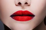 Beautiful women's lips with bright red lipstick, bright stylish makeup, - 232494252