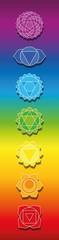 Seven chakras on rainbow colored background. Bookmark format illustration of spiritual, healing symbols. © Peter Hermes Furian