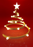 Gold christmas tree with red background - 232496484
