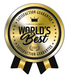 World's Best. Vector Golden Badge with Ribbons. - 232501483