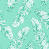 Seamless pattern with feathers. Vector illustration - 232508053