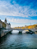 PARIS, FRANCE - November 9 ,2018: Street view of river Seine in Paris city, France. - 232508861