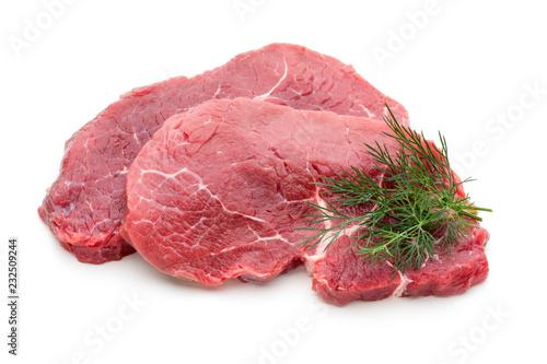 Leinwandbild Motiv Fresh raw beef steak isolated on white.