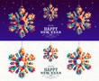 Happy new year 2019 snowflake triangle hipster
