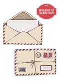 Vector collection of hand drawn envelopes - 232514494