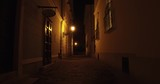 Historical narrow cobblestone street in the Castle District on the Buda Castle Hill in Budapest at night. - 232521078