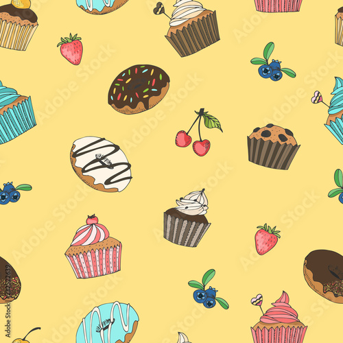 Poster Yellow pattern with donuts and muffins