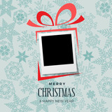 Christmas and winter background with photo, blank frame. Vector template with picture to insert - 232523695