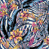 Vector seamless pattern of tropical leaves, Exotic natura backgr - 232524669