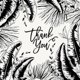 Vector monochrome greeting card of tropical leaves,  - 232525683