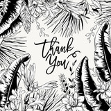 Vector monochrome greeting card of tropical leaves,  - 232525806