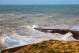 View of sea from Seaford beach, rough sea, East Sussex, England - 232529457