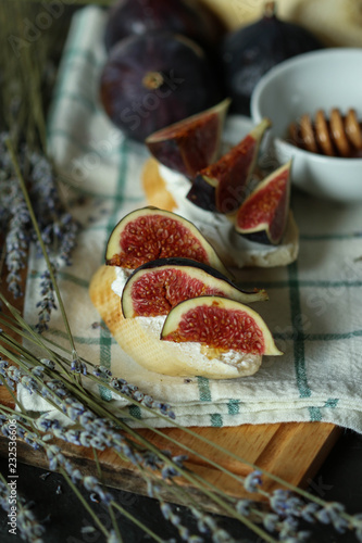 Wall mural  Bruschetta with figs, cheese and honey