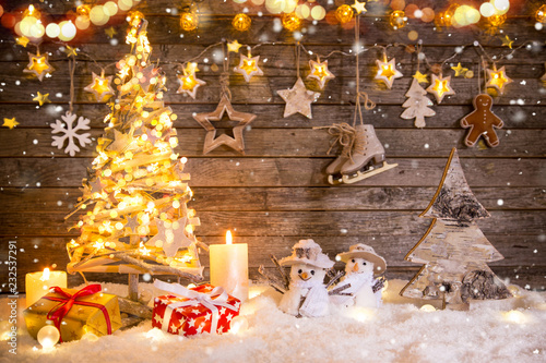 Christmas decoration on wooden background - 232537291