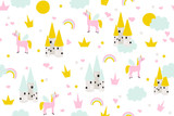 Cute baby seamless pattern with castle and magic unicorn for wallpaper border or textile. Vector hand drawn illustration. - 232543015