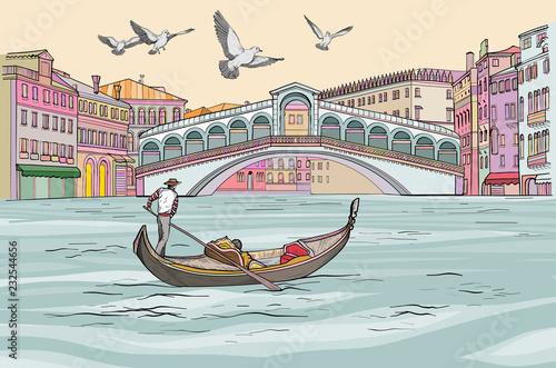 Venecia cityscape view. Gondola in Grand Canal. - 232544656