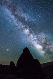 ALABAMA HILLS, CALIFORNIA USA 2018 - Alabama Hills, California rock formation and starry sky with Mount Whitney in background - 232546818