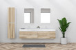 Leinwanddruck Bild - Double sink in white bathroom interior