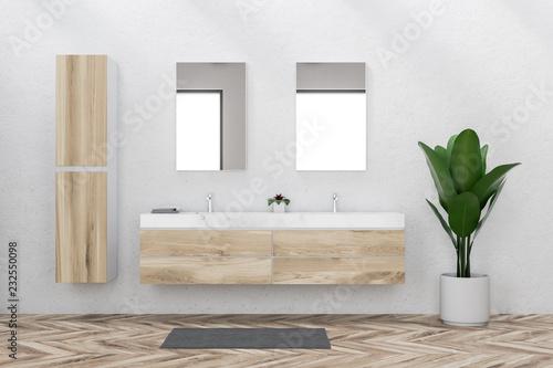 Leinwanddruck Bild Double sink in white bathroom interior