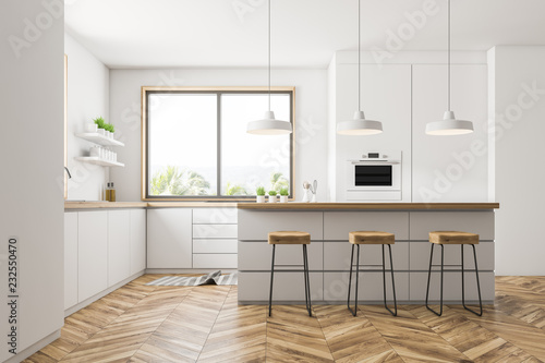 Leinwandbild Motiv White kitchen with bar